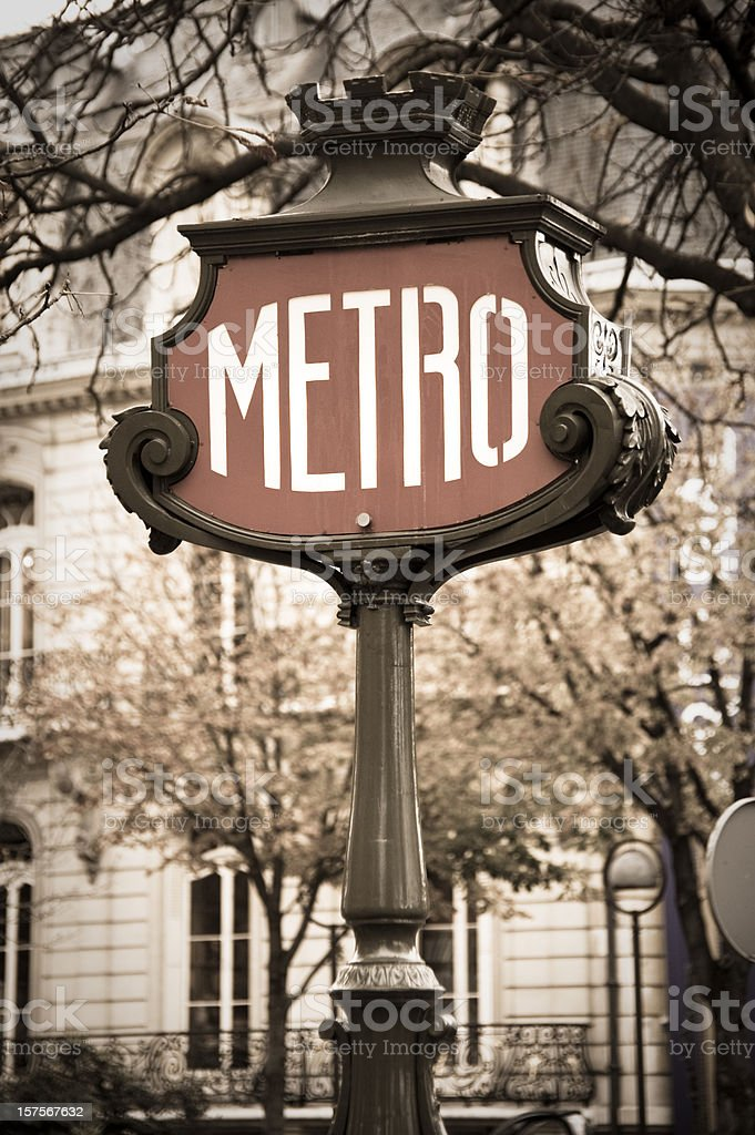 Detail of Metro sign, Paris, France in desaturated colours. stock photo