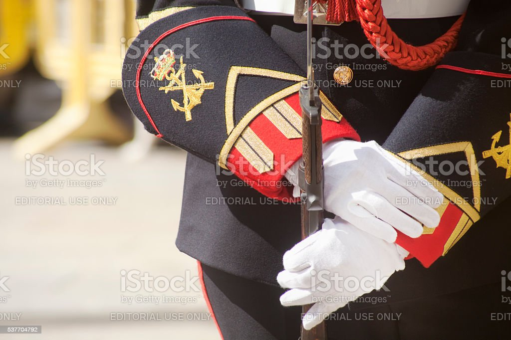 Detail of Military Navy woman in full dress uniform stock photo