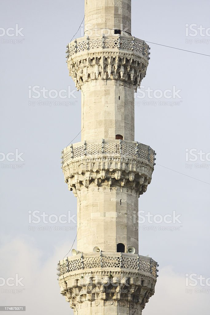 Detail of minaret at Suleiman's Mosque, Istanbul, Turkey royalty-free stock photo