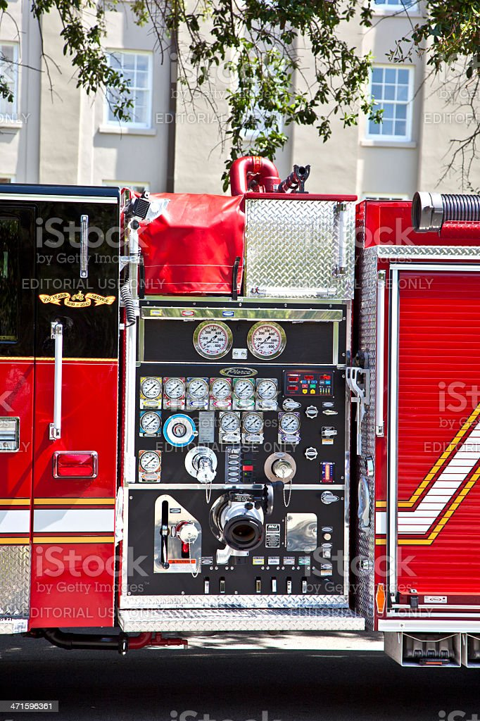 detail of modern Charleston fire truck royalty-free stock photo