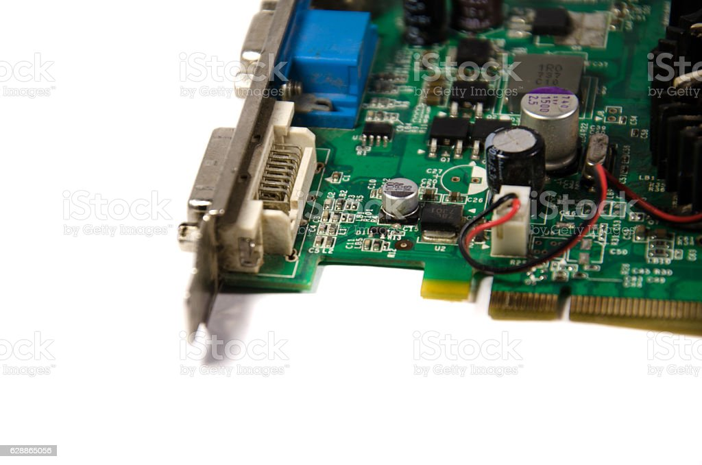 Detail of modern computer video card stock photo