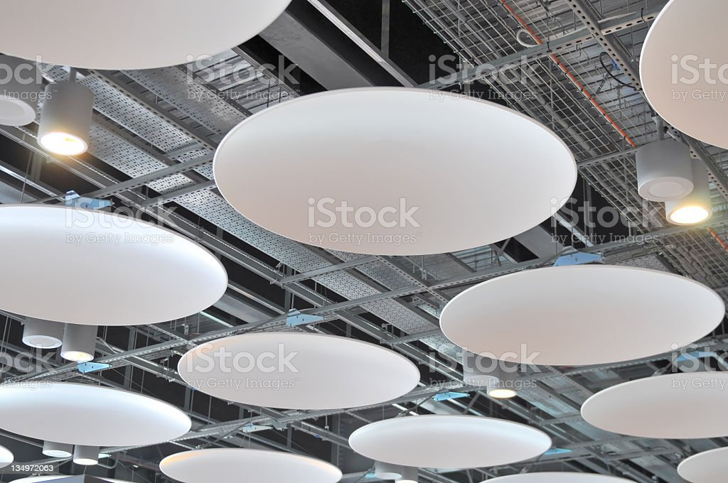 Detail of modern disk ceiling in airport stock photo