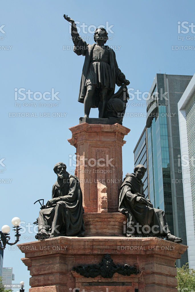 Detail of monument dedicated to Columbus in México city. stock photo