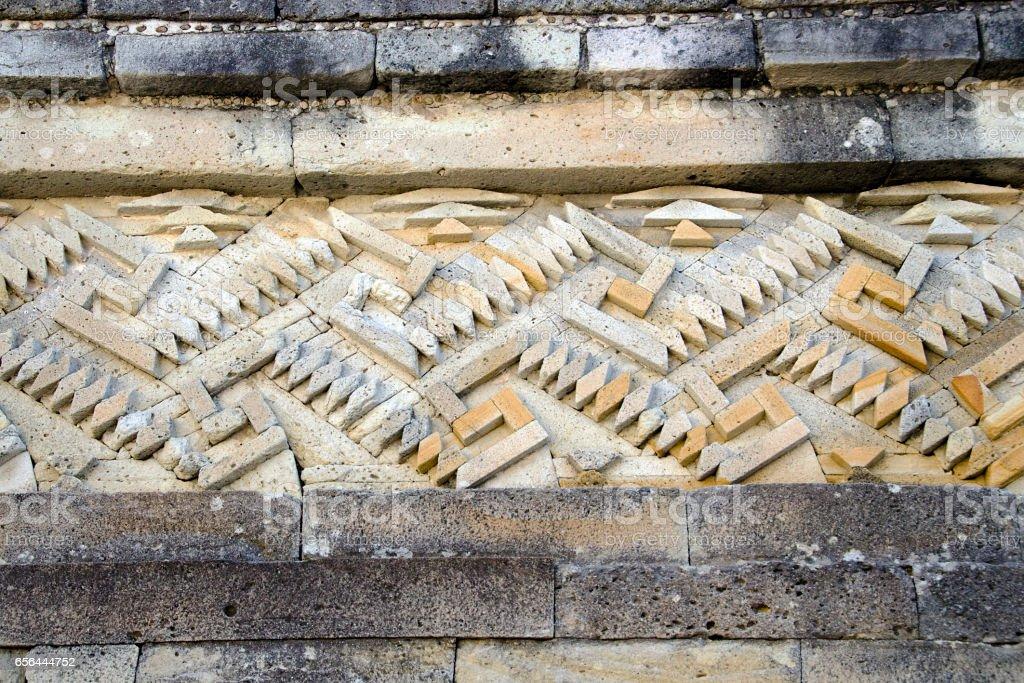 detail of mosaic fretwork, Mitla archeological site, Oaxaca, Mexico stock photo