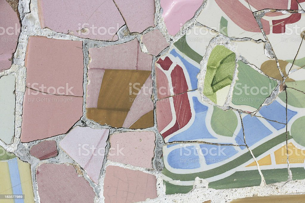 Detail of mosaic in Guell park, Barcelona royalty-free stock photo