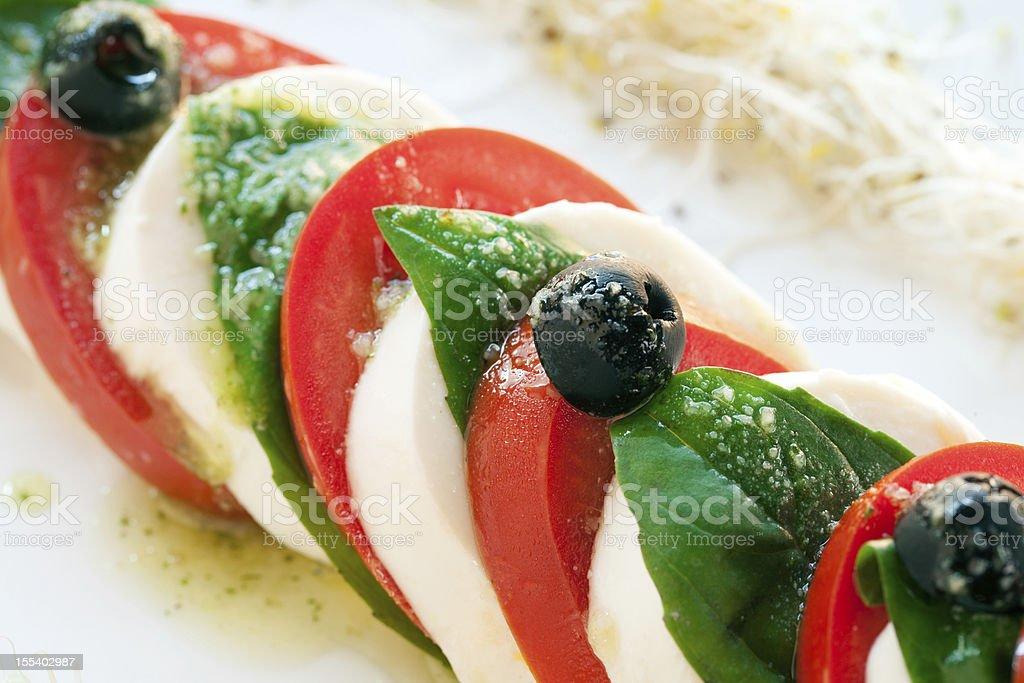 Détail d'une salade de mozzarella et tomates. photo libre de droits