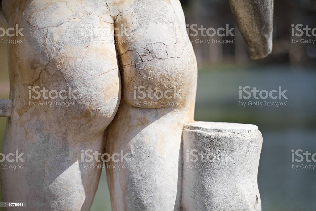 Detail of naked statue at Hadrian's Villa's Canopus stock photo