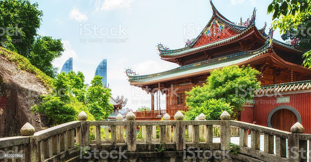 Detail of Nanputuo Temple stock photo