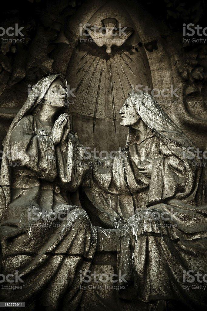 detail of nativity facade in la sagrada familia stock photo