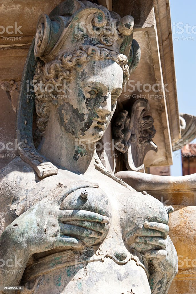 Detail of Neptune Fountain in Bologna stock photo