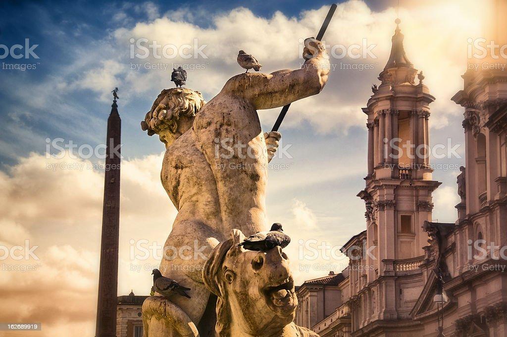 Detail of Neptune fountain on Piazza Navona stock photo