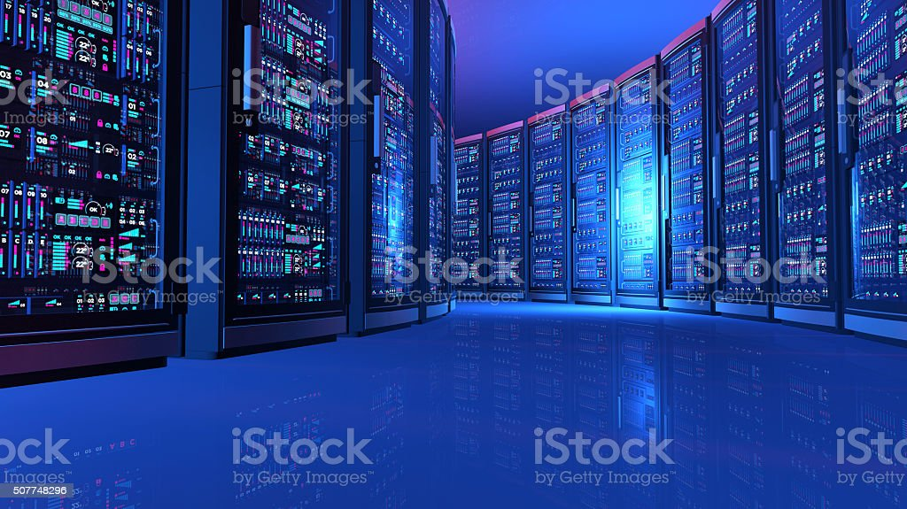 Detail of network computers in futuristic server room, blue light stock photo