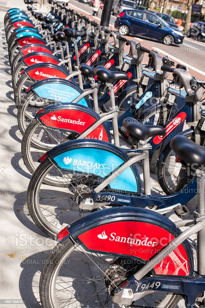 Detail of new Santander Boris bikes in line. stock photo