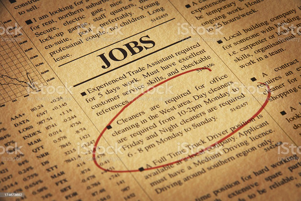 Detail of Newspaper with Jobs Offer royalty-free stock photo