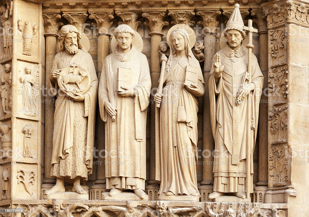 Detail of Notre Dame, Paris royalty-free stock photo