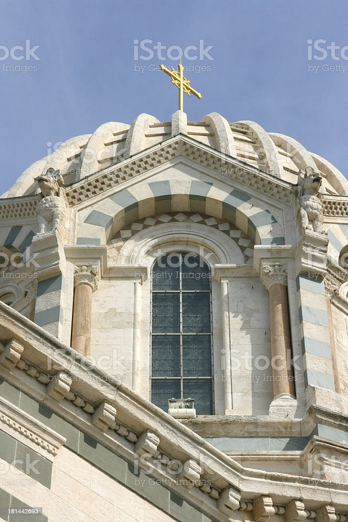 Detail of Notre-Dame de la Garde basilica in Marseille, France. royalty-free stock photo