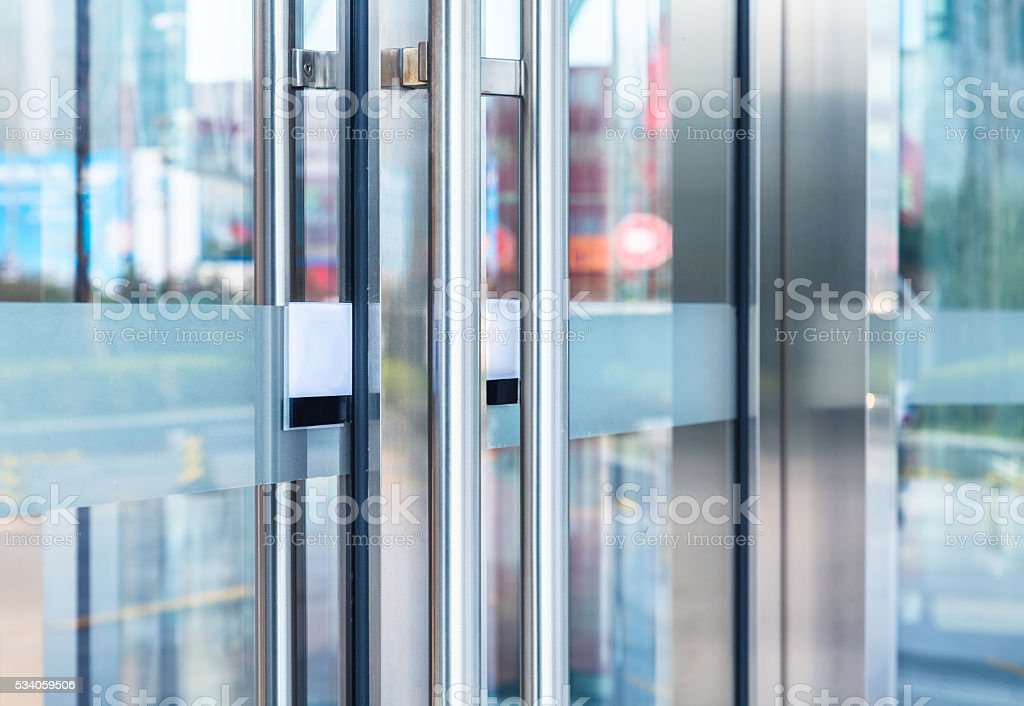 detail of office building entrance stock photo