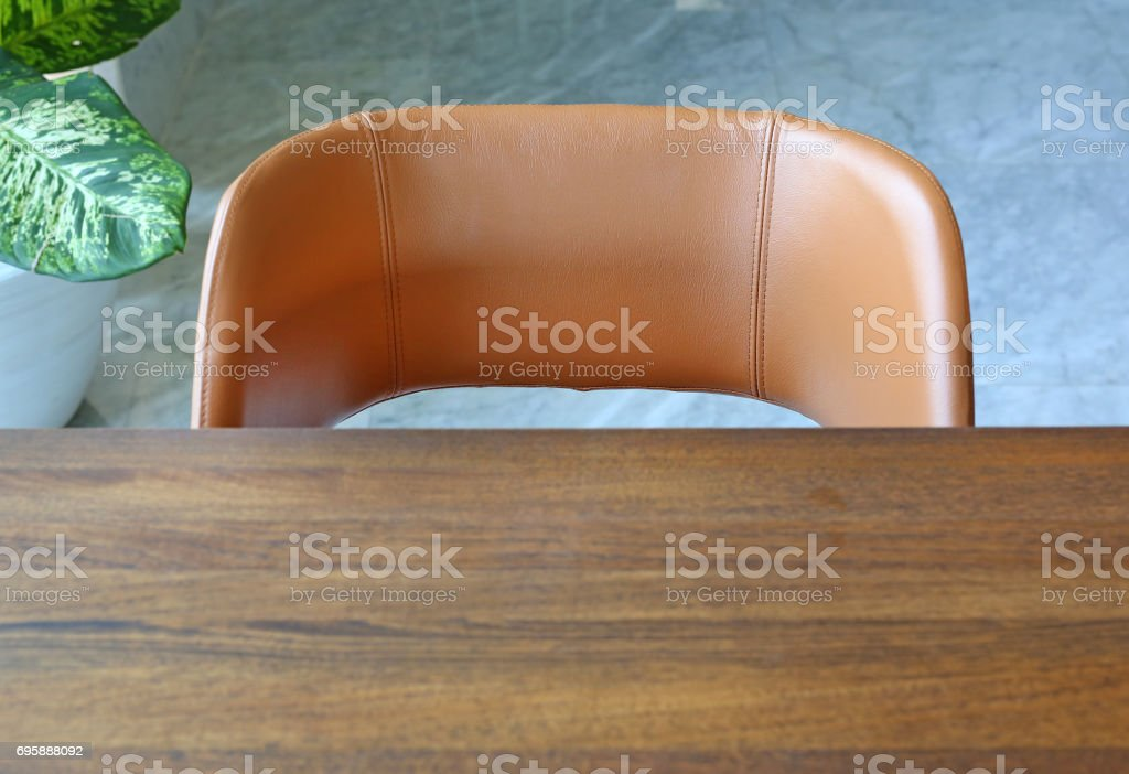 Detail of office table and chair. stock photo