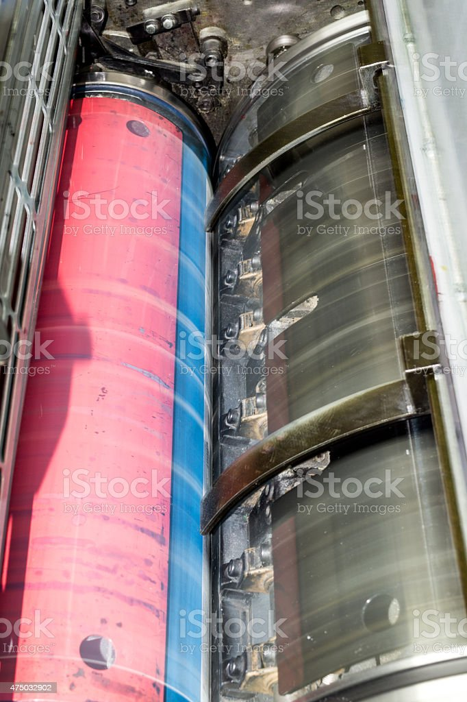 Detail of offset printing machine stock photo