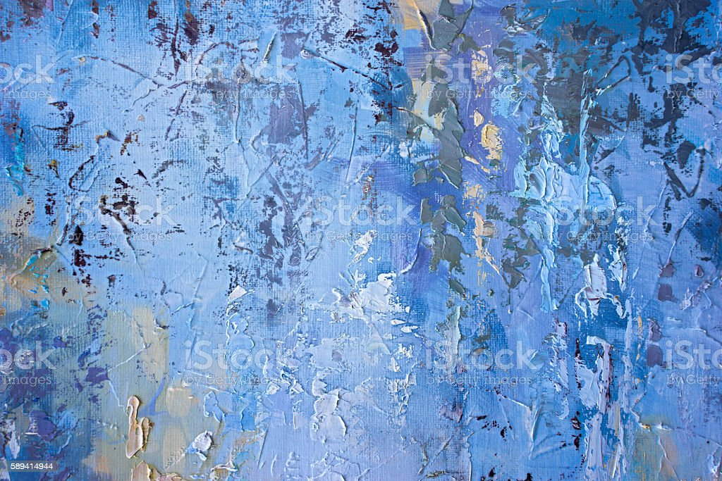 Detail of oil painted canvas in blue  tone. stock photo