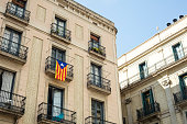 Detail of old building and a independentist catalan flag