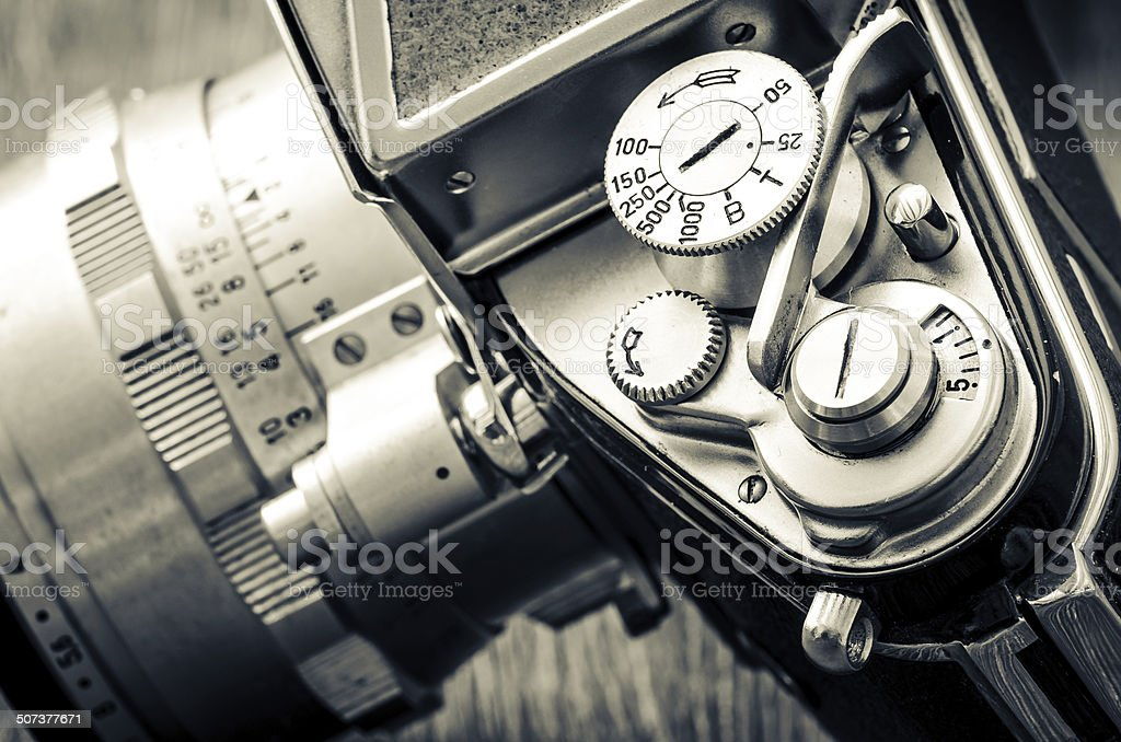 Detail of old classic camera dials in vintage style stock photo