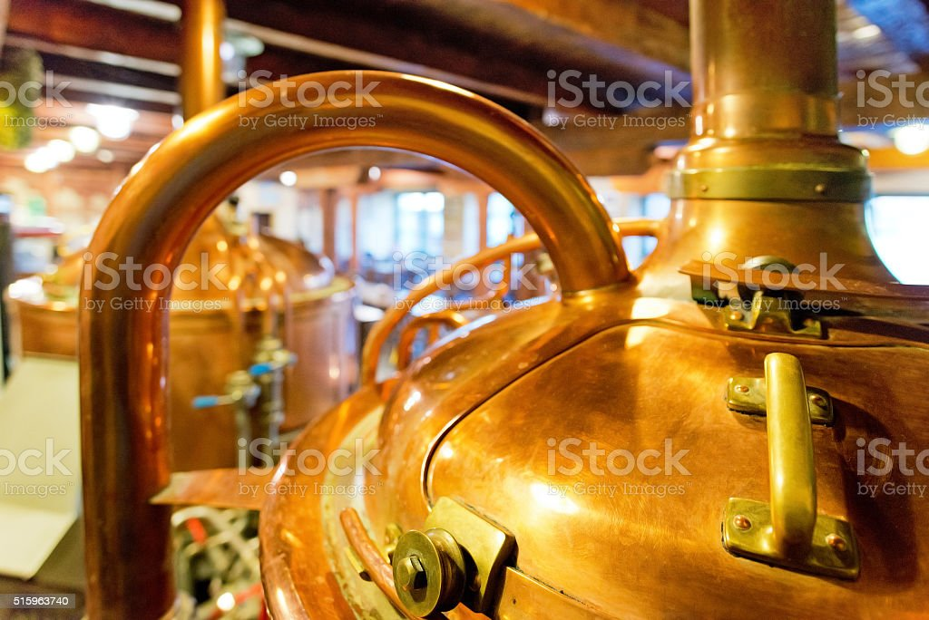 detail of old copper brewhouse stock photo
