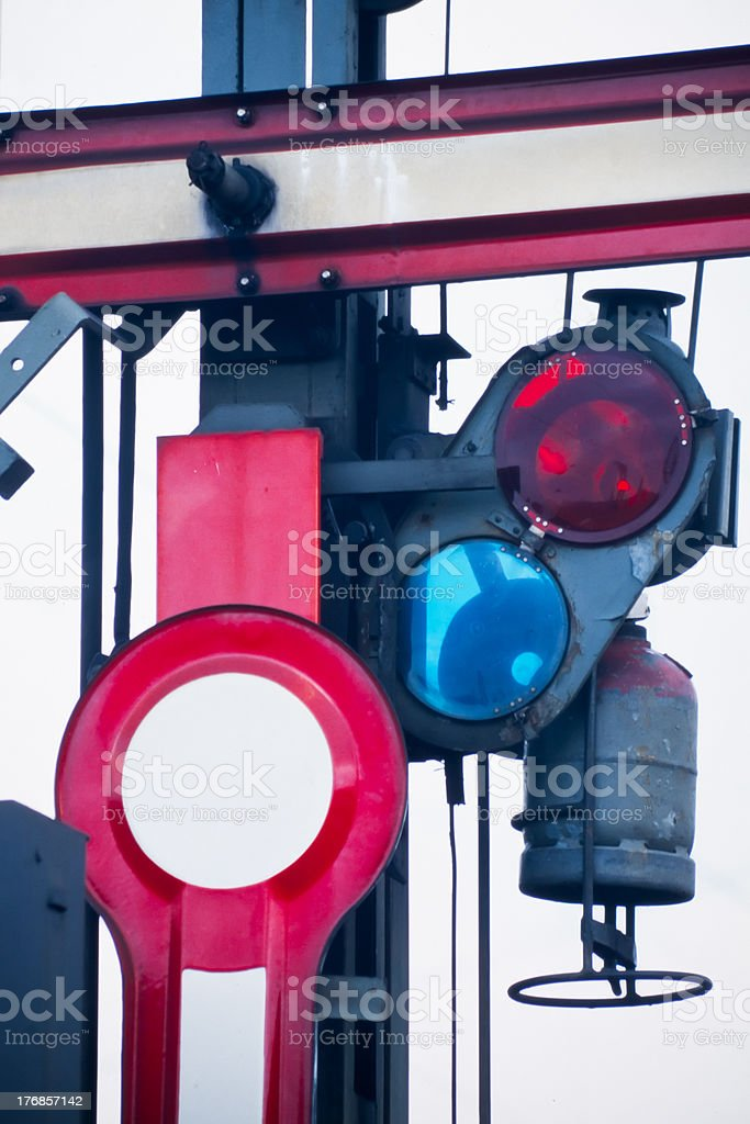 Detail of old railway semaphore royalty-free stock photo