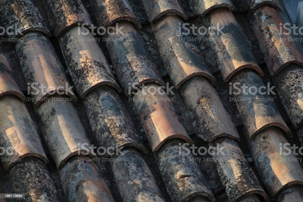 detail of old roof royalty-free stock photo