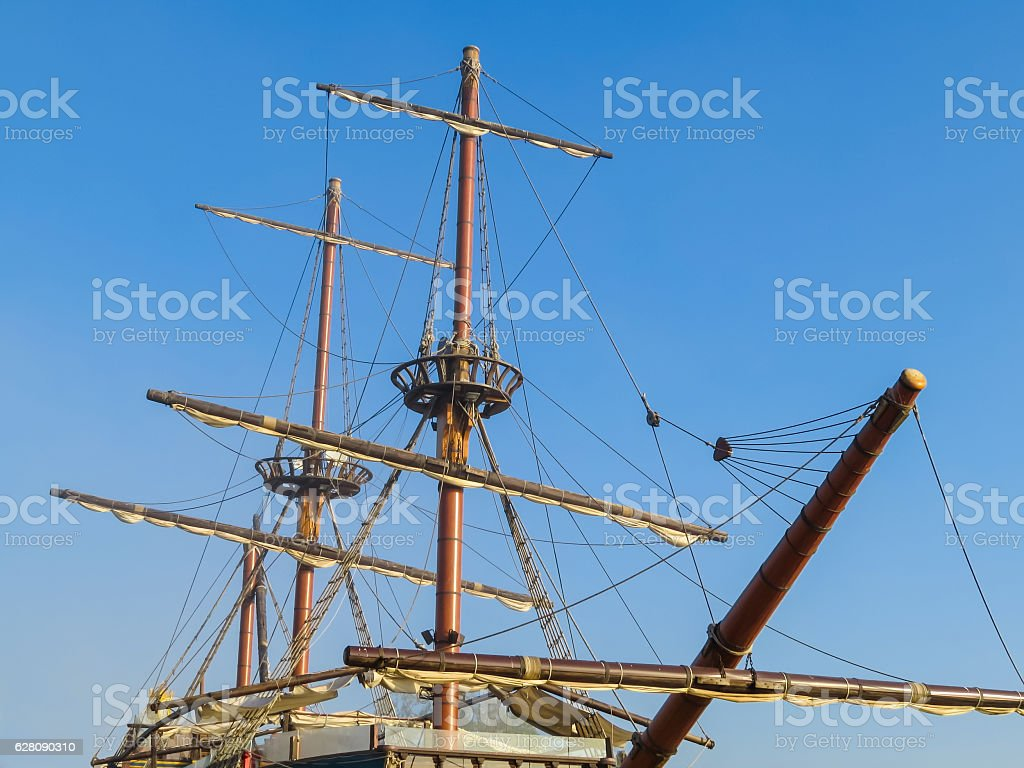 Detail of old sailing ship stock photo