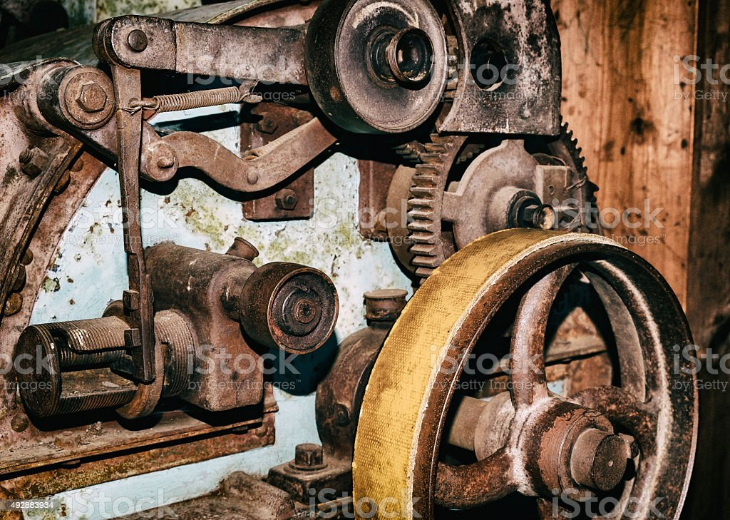 Detail of old vintage industrial production machine stock photo