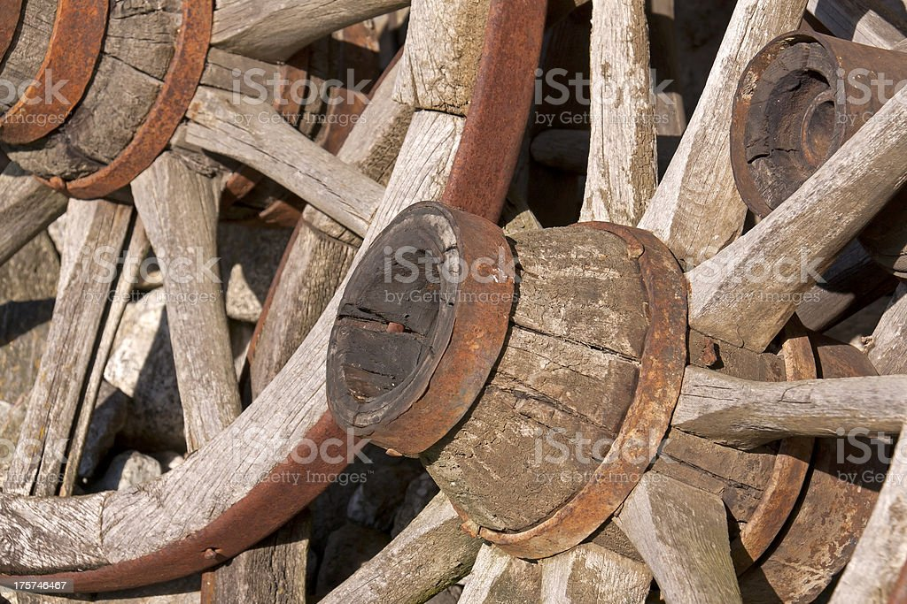 Detail of old wheels stock photo