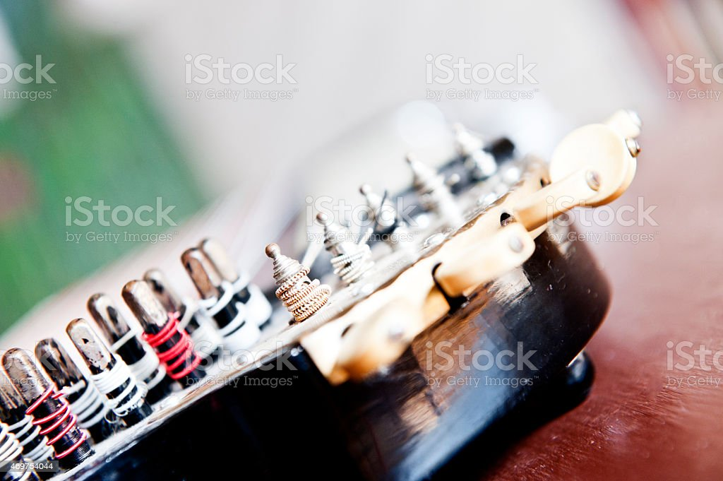 Detail of old zither instrument stock photo
