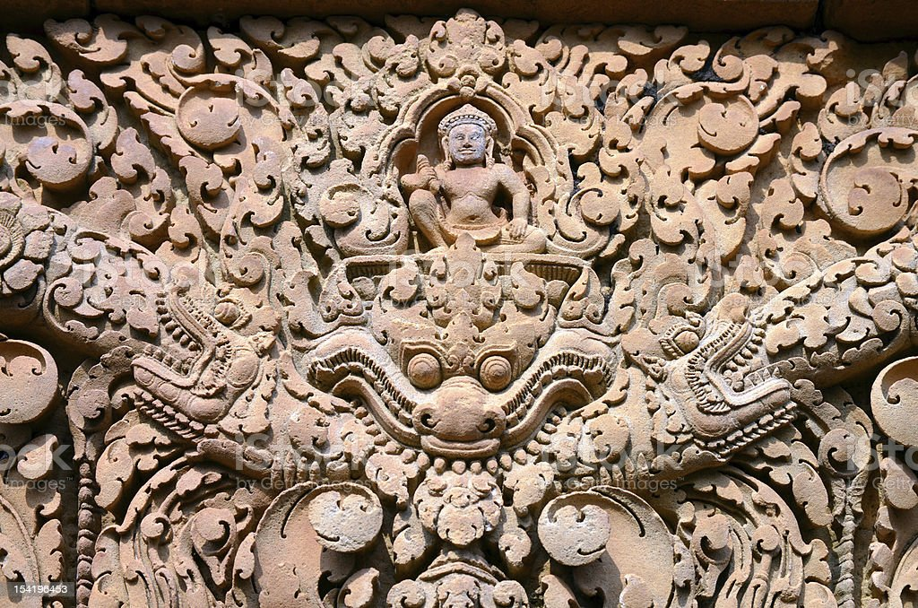 Detail of one reliefs in Banteay Srei temple. Angkor. Cambodia stock photo