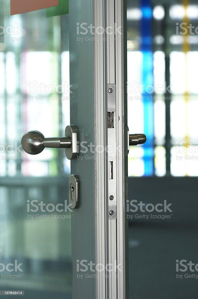 Detail of open aluminum door stock photo
