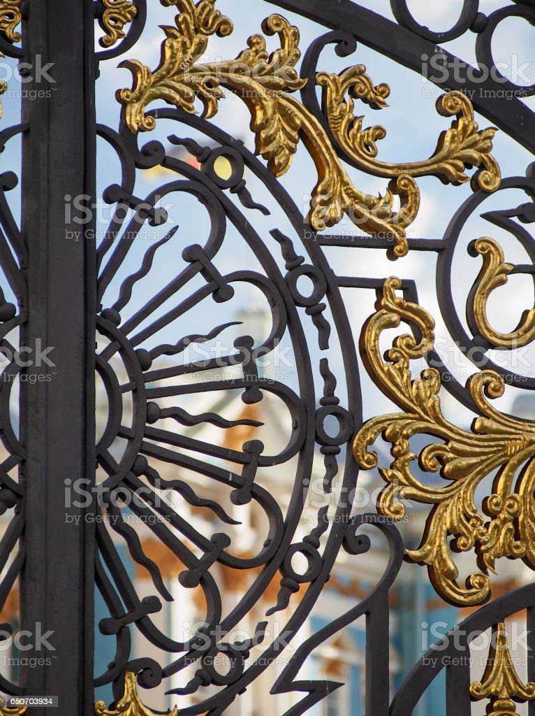 Detail of Ornate Gate in Russia stock photo