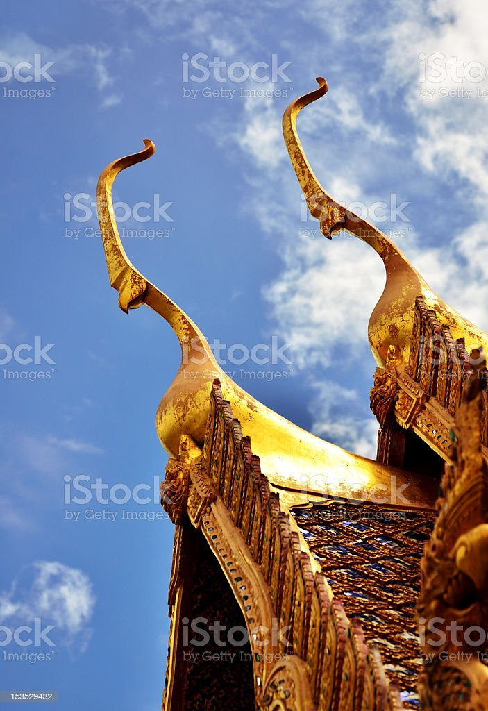 Detail of Ornately Decorated Temple Roof in Bangkok, Thailand royalty-free stock photo