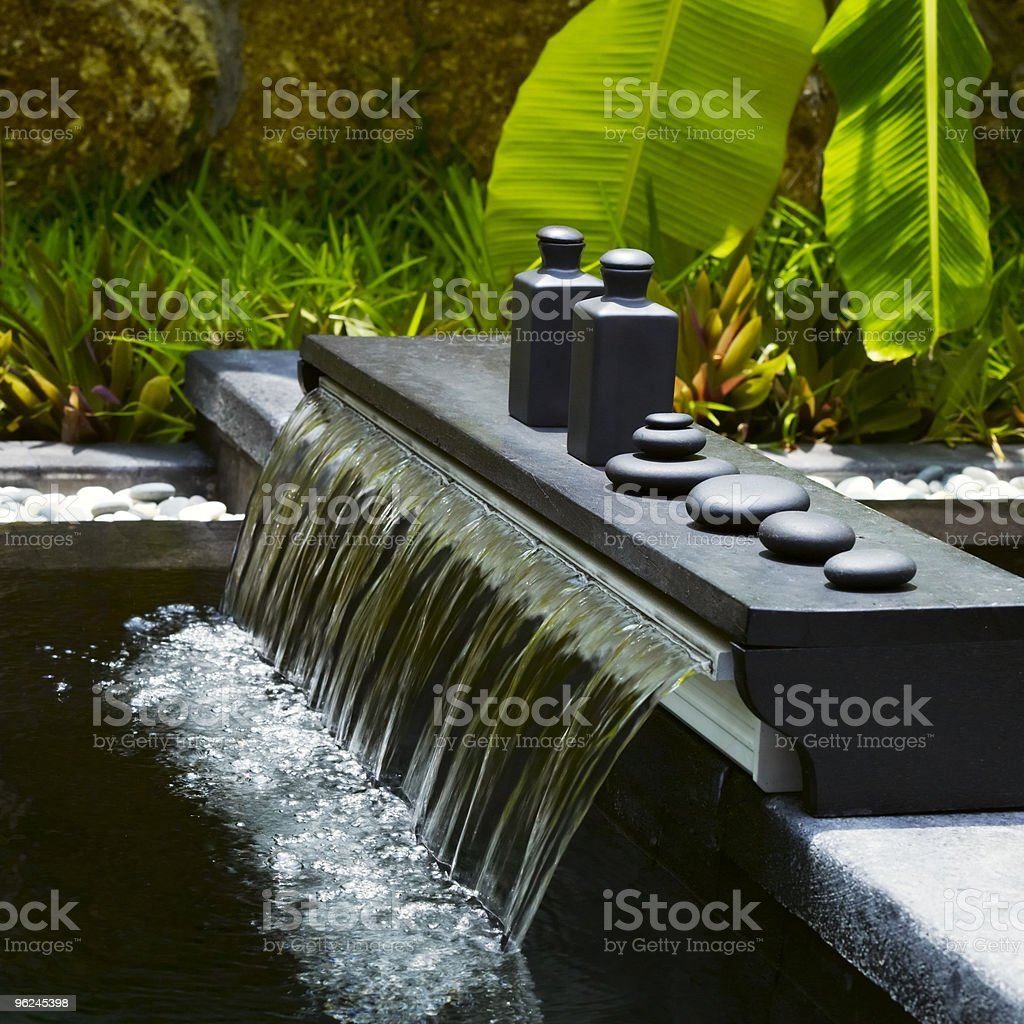 Detail of outdoor spa centre stock photo