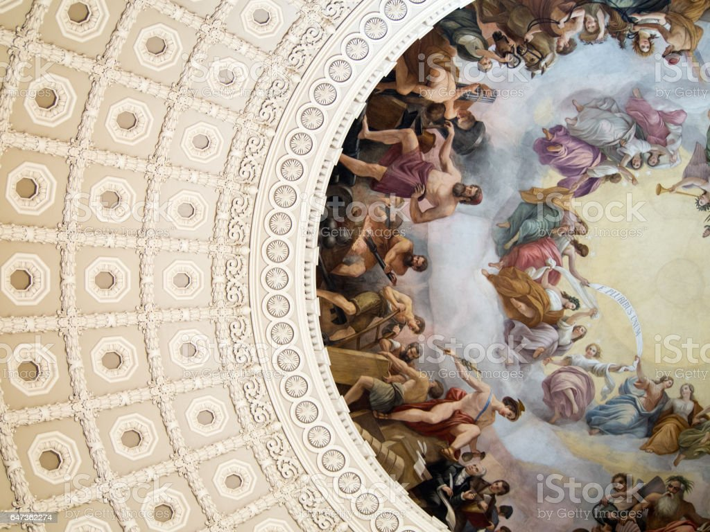 Detail of Painting Inside Dome of US Capitol Building Washington DC stock photo