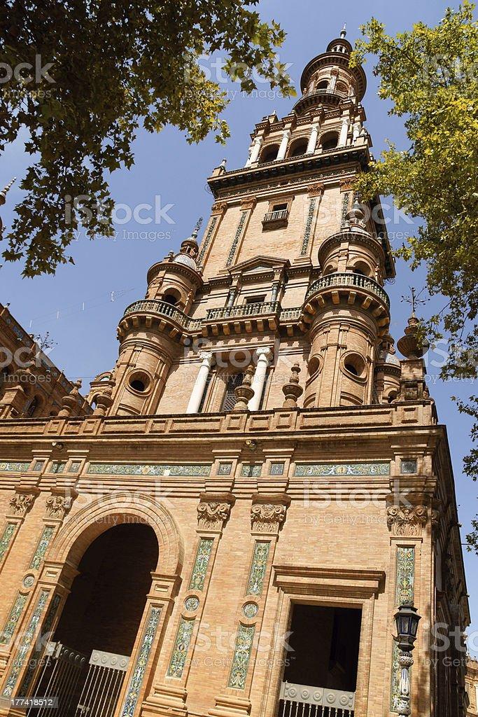 Detail of Palacio Espanol in Plaza de Espana, Seville royalty-free stock photo