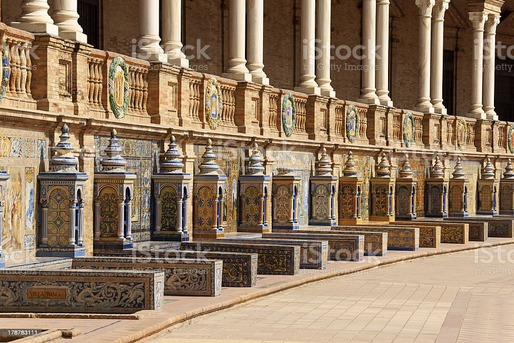Detail of Palacio Espanol in Seville, Spain royalty-free stock photo
