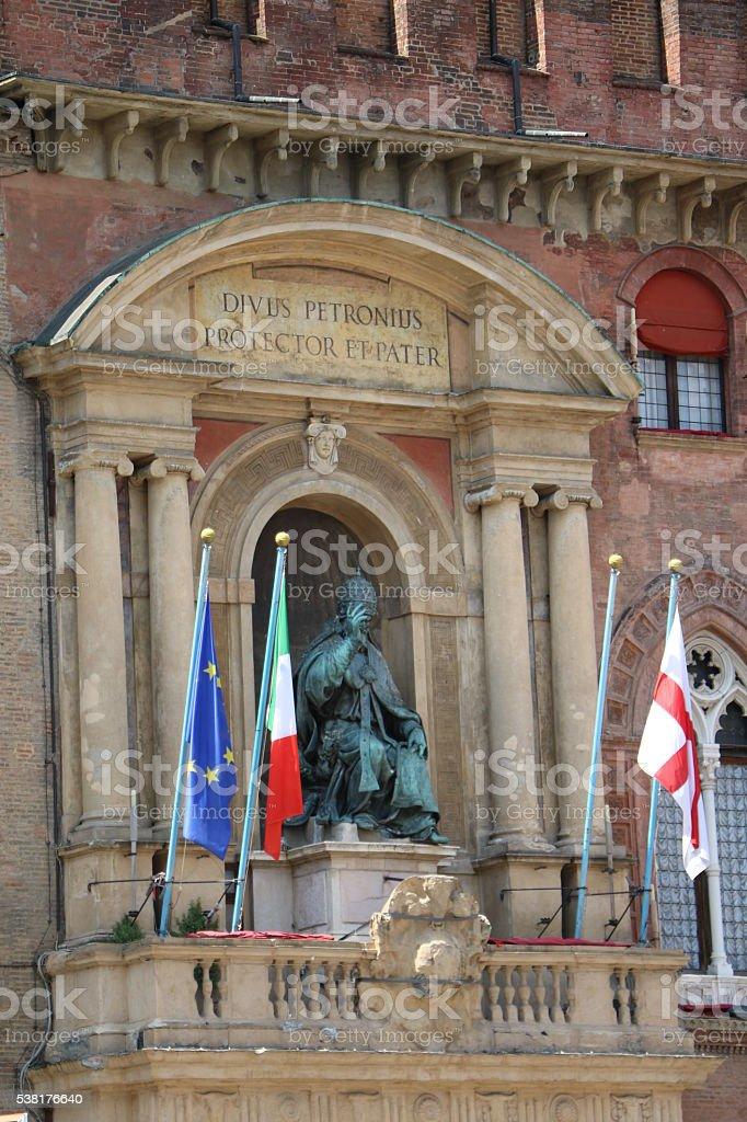 Detail of Palazzo d'Accursio in Bologna Piazza Maggiore, Italy stock photo