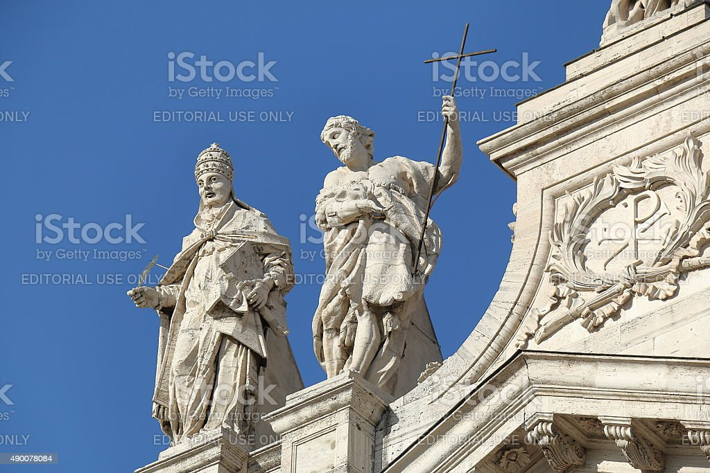 Detail of Papal Archbasilica of St. John Lateran in Rome stock photo