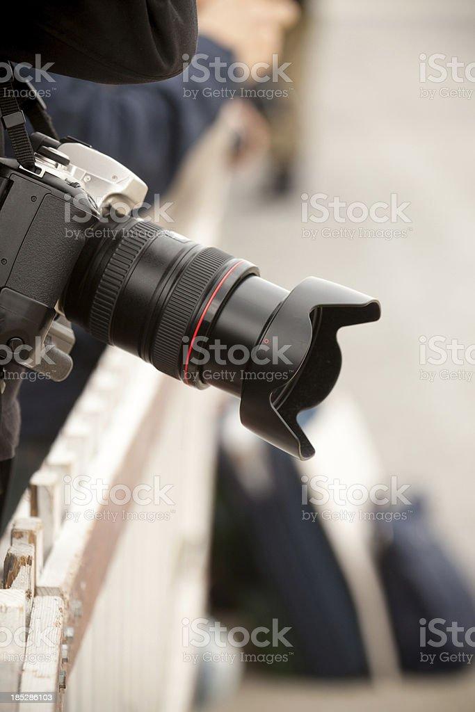 Detail of paparazzi photographer royalty-free stock photo