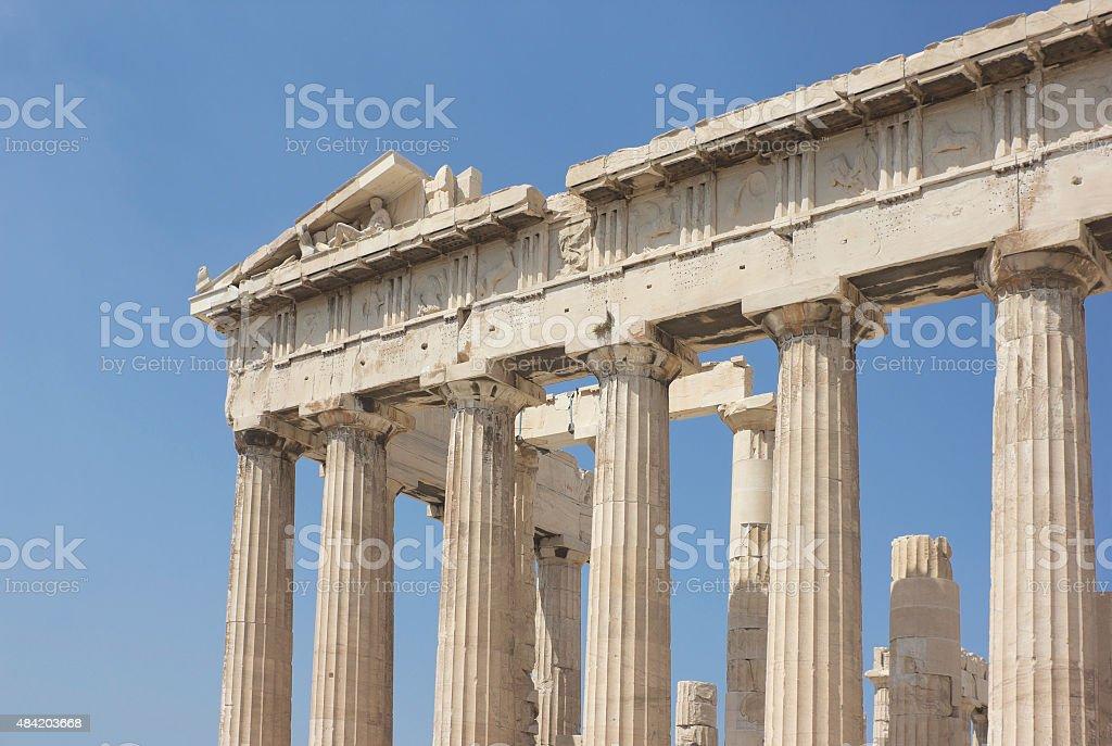 Detail of Parthenon in Athens, Greece stock photo