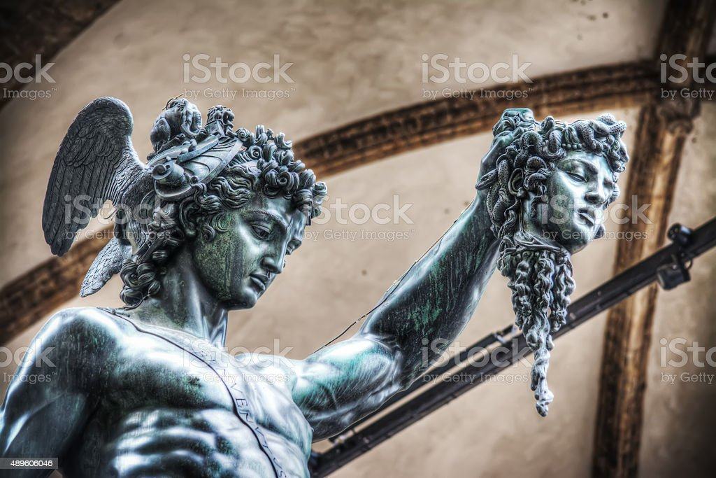 detail of Perseo holding Medusa head stock photo