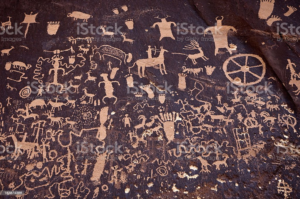 Detail of Petroglyphs on Newspaper Rock royalty-free stock photo