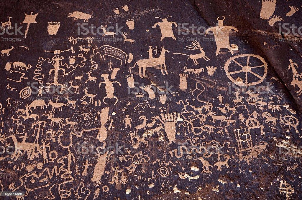 Detail of Petroglyphs on Newspaper Rock stock photo