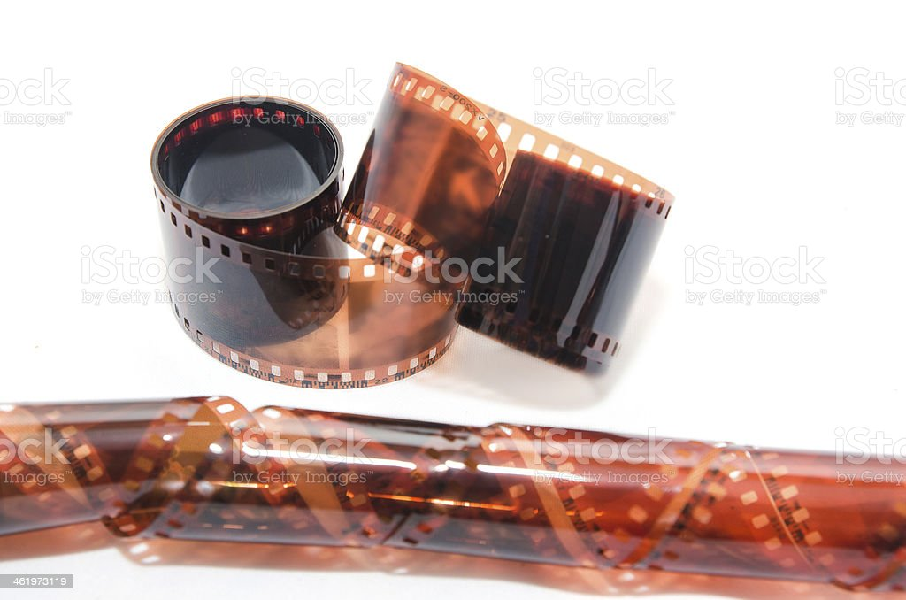Detail of photography film on a white background stock photo