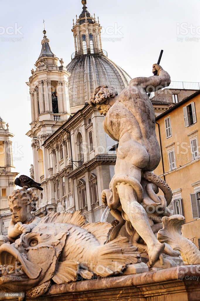 Detail of Piazza Navona fountain, Rome royalty-free stock photo